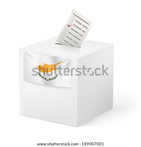 Raster version. Election in Cyprus: ballot box with voting paper on white background - stock photo