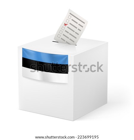 Raster version. Election in Estonia: ballot box with voting paper on white background  - stock photo