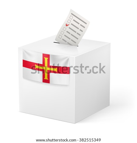Raster version. Election in Guernsey: ballot box with voting paper on white background - stock photo