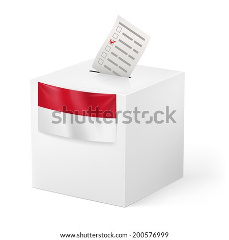 Raster version. Election in Monaco: ballot box with voicing paper isolated on white background