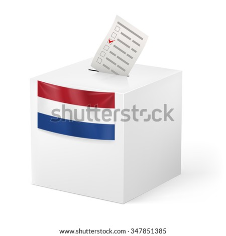 Raster version. Election in Netherlands: ballot box with voting paper on white background - stock photo