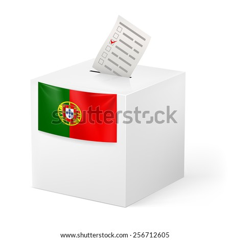 Raster version. Election in Portugal: ballot box with voting paper on white background - stock photo