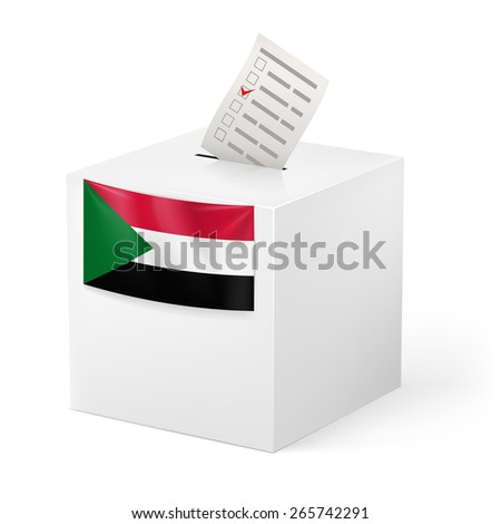 Raster version. Election in Sudan: ballot box with voting paper on white background - stock photo