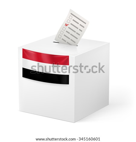 Raster version. Election in Yemen: ballot box with voting paper isolated on white background - stock photo