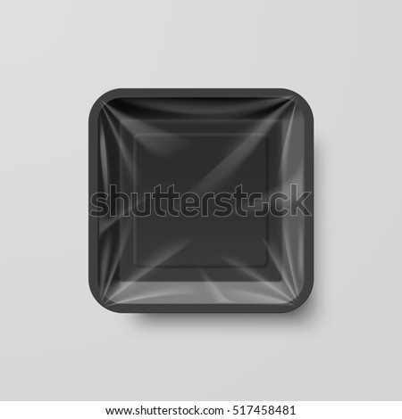 Raster version. Empty Black Plastic Food Square Container on Gray