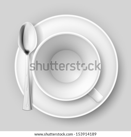 Raster version. Empty cup with spoon on saucer. Illustration on white background. - stock photo