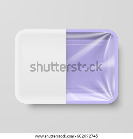 Raster version. Empty Purple Plastic Food Container with White label on Gray Background