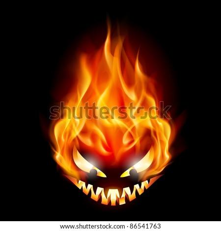Raster version. Evil burning Halloween symbol. Illustration on black background - stock photo
