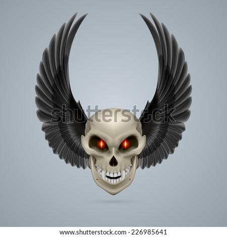 Raster version. Evil looking mutant skull with raised black wings  - stock photo