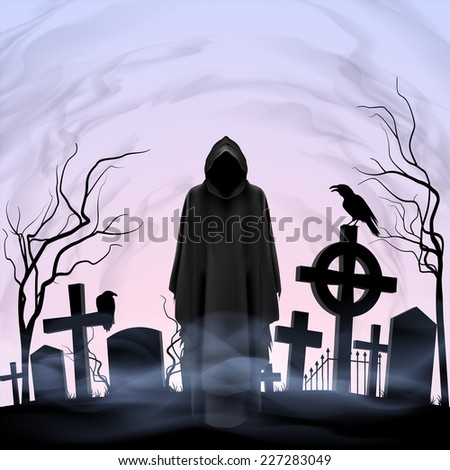 Raster version. Faceless angel of death among graves in the cemetery. Twilight  - stock photo