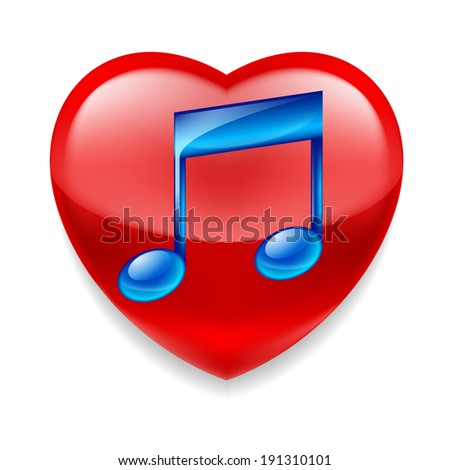 Raster version. Favorite music icon. Shiny red heart with glossy blue music note - stock photo