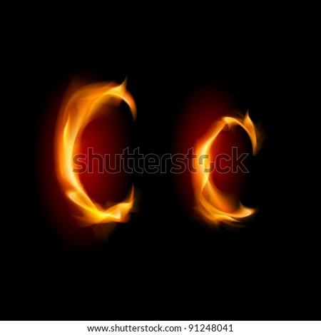 Raster version. Fiery font. Letter C. Illustration on black background - stock photo