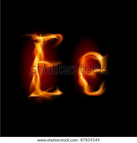 Raster version. Fiery font. Letter E. Illustration on black background - stock photo