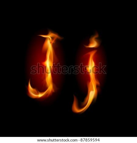 Raster version. Fiery font. Letter J. Illustration on black background - stock photo