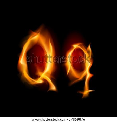 Raster version. Fiery font. Letter Q. Illustration on black background - stock photo