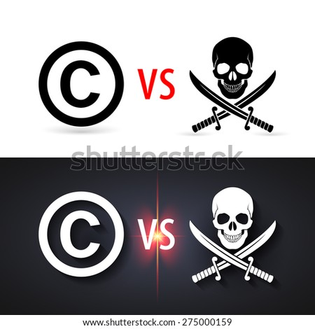 Raster version. Fight copyright piracy. Protection sign, authorship business