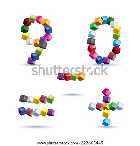 Raster version. Figures 9 and 0, equal, plus and minus signs made of colored blocks.  - stock photo