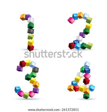 Raster version. Figures 1, 2, 3 and 4 made of colored blocks.
