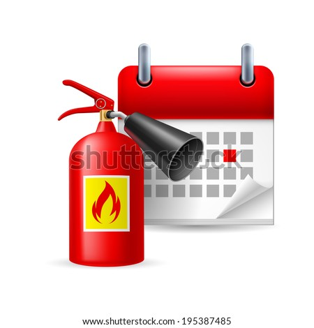 Raster version. Fire extinguisher and calendar with marked day. Firefighters Day - stock photo