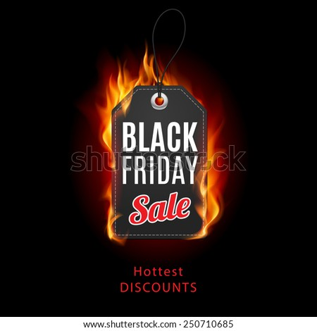 Raster version. Fire label. Black Friday discounts, increasing consumer growth.  - stock photo