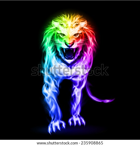 Raster version. Fire lion in spectrum colors on black background  - stock photo