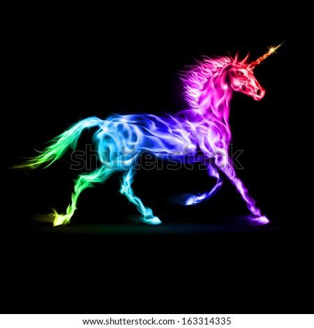Raster version. Fire unicorn in spectrum colors on black background. - stock photo