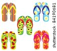 Raster version. Five pairs of colorful flip flops. Illustration on white background - stock vector