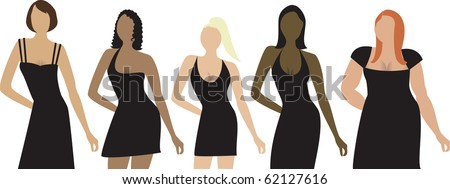 Raster version. Five women of different shapes, sizes and ethnicity with black dress. Can be used for a party invitation, diversity or sizing. - stock photo