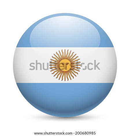 Raster version. Flag of Argentina as round glossy icon. Button with Argentinian flag - stock photo