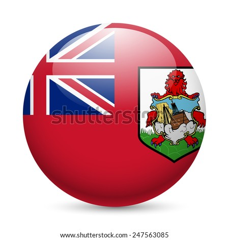 Raster version. Flag of Bermuda as round glossy icon. Button with flag design  - stock photo