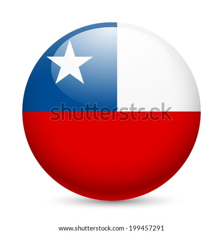 Raster version. Flag of Chile as round glossy icon. Button with Chilean flag - stock photo
