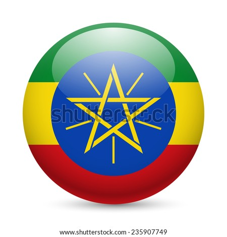 Raster version. Flag of Ethiopia as round glossy icon. Button with Ethiopian flag
