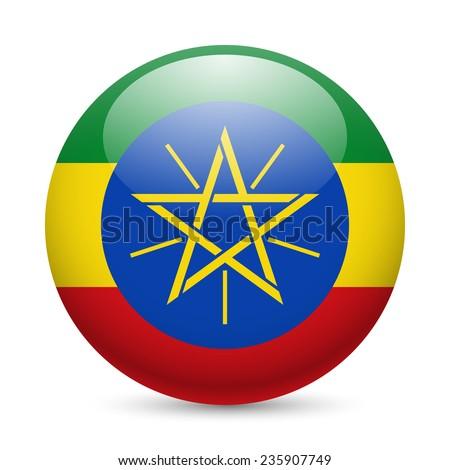 Raster version. Flag of Ethiopia as round glossy icon. Button with Ethiopian flag  - stock photo