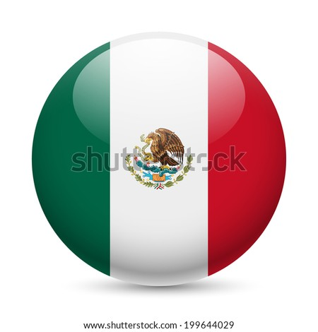 Raster version. Flag of Mexico as round glossy icon. Button with Mexican flag - stock photo