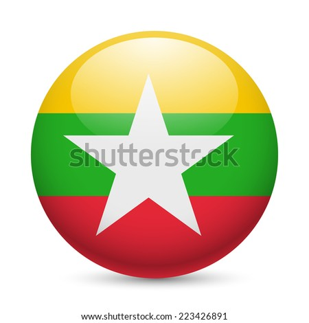Raster version. Flag of Myanmar as round glossy icon. Button with flag design  - stock photo