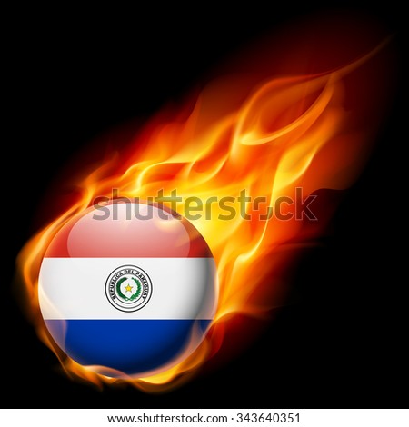 Raster version. Flag of Paraguay as round glossy icon burning in flame - stock photo