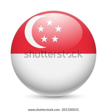 Raster version. Flag of Singapore as round glossy icon. Button with Singaporean flag - stock photo