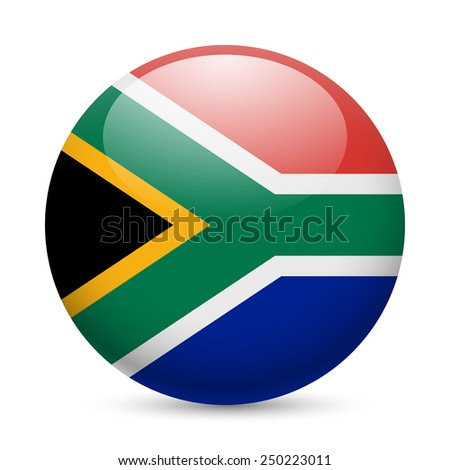 Raster version. Flag of South Africa as round glossy icon. Button with flag design