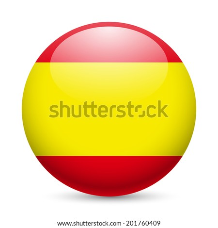 Raster version. Flag of Spain as round glossy icon. Button with Spanish flag - stock photo