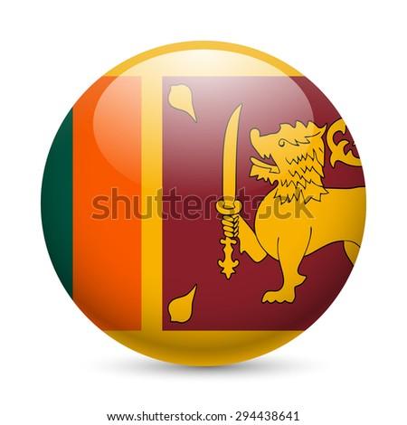 Raster version. Flag of Sri Lanka as round glossy icon. Button with flag design  - stock photo