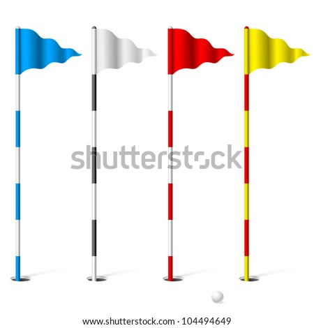 Raster version. Flags of the golf course. Illustration on white background. - stock photo