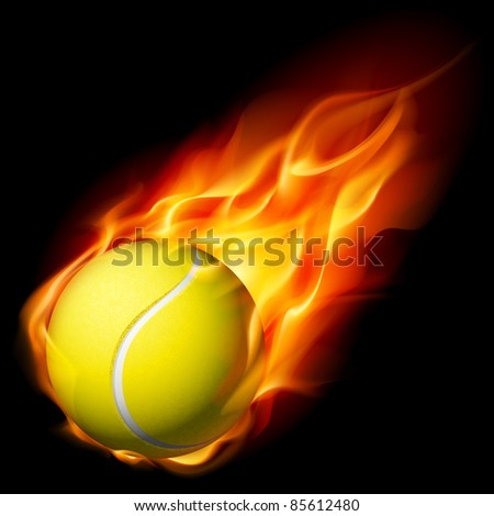 Raster version. Flaming Tennis Ball. Illustration on white background for design - stock photo