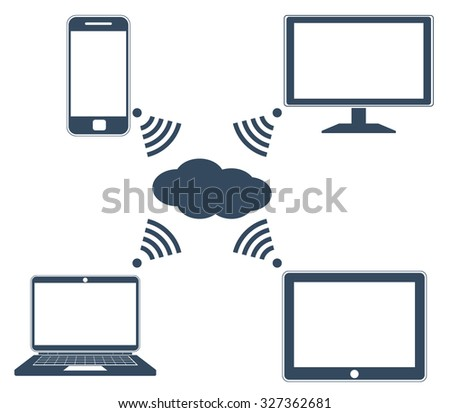 Raster version. Flat design concept of cloud service and mobile devices - stock photo