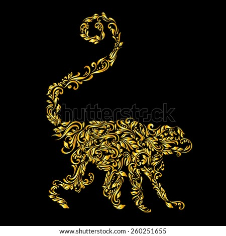 Raster version. Floral gold pattern of vines in the shape of a monkey on a black background  - stock photo