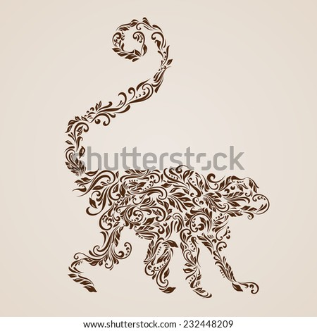Raster version. Floral pattern of vines in the shape of a monkey on a beige background  - stock photo