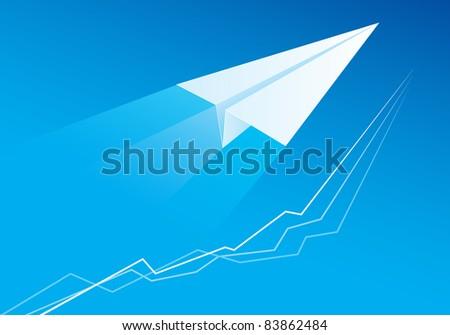 Raster version. Flying Paper Airplane. Illustration for design on blue background - stock photo