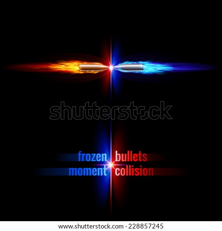 Raster version. Frozen moment of two bullets collision in orange and blue flame  - stock photo
