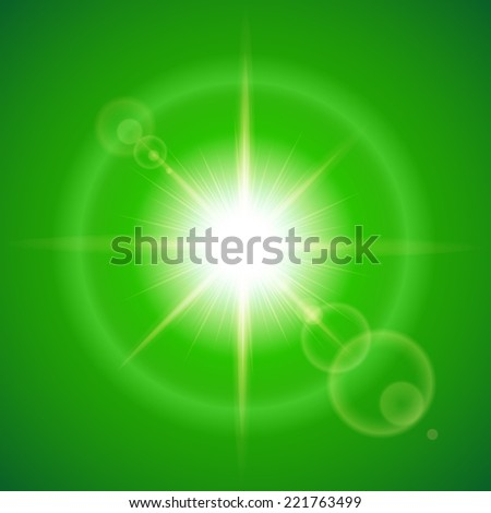Raster version. Glaring sun with lens flare over green background  - stock photo