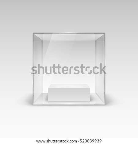 Raster version. Glass Showcase in Cube Form for Presentation