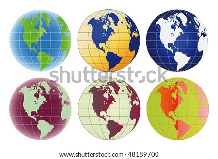 Raster version Globe North America and Latin America set of 6 color options - stock photo